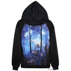 Blue Space Print Black Hoodie ($29) ❤ liked on Polyvore featuring tops, hoodies, hooded sweatshirt, hoodie top, galaxy top, blue top and nebula hoodie