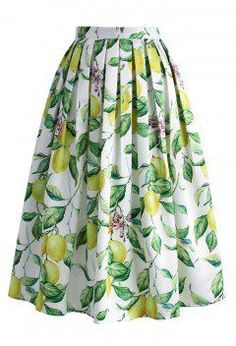 Lemon Tree Printed Midi Skirt - CHICWISH SKIRT COLLECTION - Skirt - Bottoms - Retro, Indie and Unique Fashion
