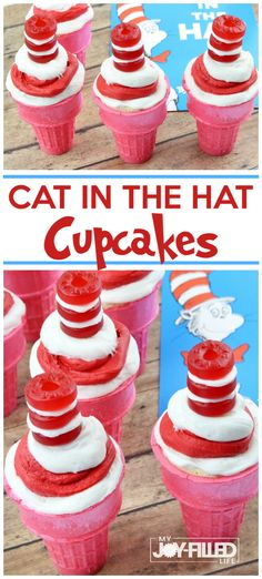 These Cat in the Hat cupcakes are a fun and unique treat for your next Dr. Seuss themed party or story time treat. Easy to make and super cute! Homemade Cake Recipes, Cupcake Recipes, Fun Recipes, Muffin Recipes, Family Recipes, Popular Recipes, Baking Recipes, Holiday Recipes, Recipe Ideas