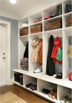 Wonderful 63 Clever Hallway Storage Ideas : 63 Clever Hallway Storage Ideas With White Blue Wall Wooden Storage Door Carpet Hardwood Floor Lamp Shoes