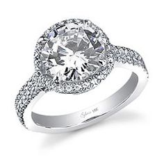 Glamorous Halo Round Diamond Engagement Ring