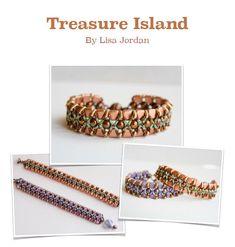 Treasure Island Bracelet Pattern By Lisa Jordan, Starman TrendSetter Jewelry Patterns, Bracelet Patterns, Beading Patterns, Beading Ideas, Crochet Patterns, Wreath Tutorial, Bracelet Tutorial, Seed Bead Projects, Treasure Island