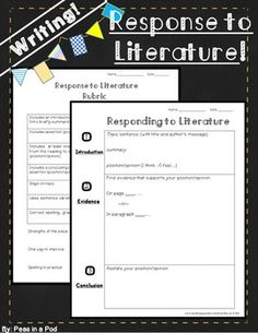 Writing ~ Response to Literature!Respond to literature in 3 simple steps.This visual template makes writing a response to literature easy! 5th Grade Ela, Teaching 5th Grade, 4th Grade Writing, 5th Grade Classroom, Fourth Grade, Third Grade, Reading Response, No Response, Teaching Resources
