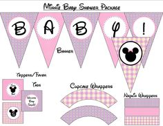 50% off - Minnie Mouse Baby Shower - Printable Package. $8.00, via Etsy.