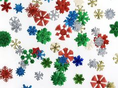 Foiled snowflake labels.