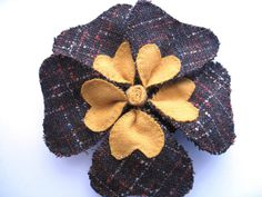 Mustard Yellow and Brown Tweed Flower Brooch  by Bigbluebed, $17.00