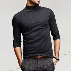 Fashion Mens T Shirt Long Sleeve High Flexibility Turtleneck Slim Fit Basic Tees Slim Fit Hoodie, Casual Outfits, Men Casual, Hoodie Jacket, Mens Clothing Styles, Workout Shirts, Long Sleeve Shirts, Men Sweater, Turtleneck