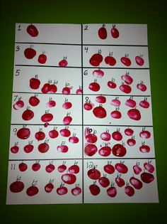 Apple Counting activity with thumbprints!