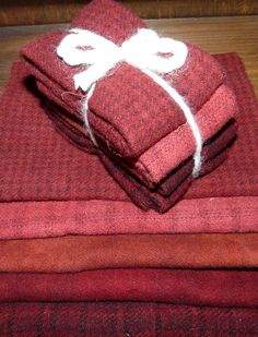 """Hand-Dyed Wool f16 Sampler - Reds - """"The Quilted Crow Quilt Shop, folk art quilt fabric, quilt patterns, quilt kits, quilt blocks"""
