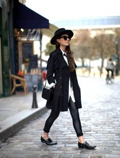 Chicwish Trench Coat, Storets White Blouse, ASOS Men's Skinny Tie, H&M Leather Leggings, Vintage Hat & Box Bag