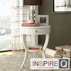 Neo Round Nightstand In White Color