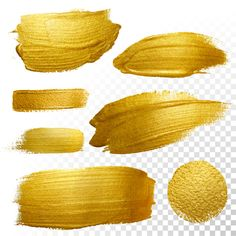 Download Vector Gold Paint Smear Stroke Stain Set