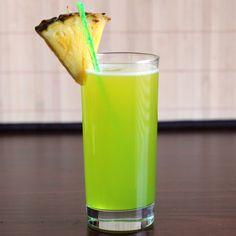 Monkey in a tree: Coconut Rum, Creme de Banane, Grenadine, Pineapple Juice, Melon Liqueur, Pineapple Wedge.