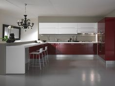 Glossy red kitchen