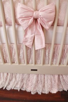 THE DANIKA COLLECTION: Silk and Lace Crib Bedding by HugBugBedding