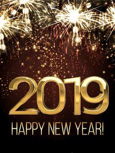 Shining New Year Fireworks Card 2019