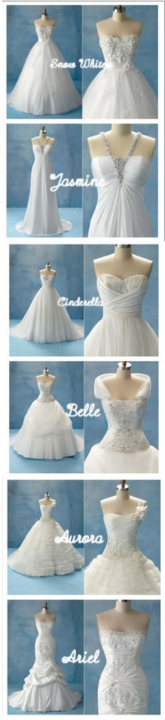 Well I love the Belle and Cinderella dresses. I love the tops of the Jasmine, Aurora, Ariel. I don't really care for the Snow White as much.