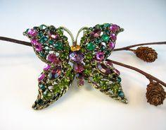 Dazzling Rhinestone Butterfly Vintage Brooch Olivine Fuchsia Purple Emerald - bohemiantrading
