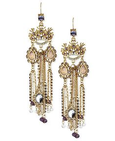 Betsey Johnson Earrings, Gold-Tone Glass Chain Crown Linear Earrings - All Fashion Jewelry - Jewelry & Watches - Macy's