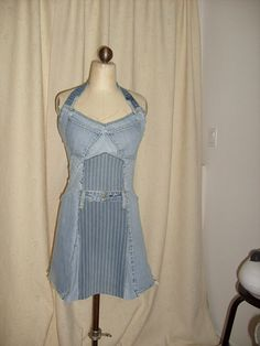halter dress made from two pairs of jeans.