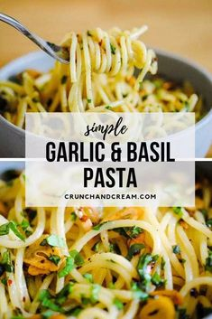 This simple garlic and basil pasta is a perfect lunch or light dinner recipe. It's quick, easy, customisable and, most importantly, absolutely delicious! Veggie Pasta Recipes, Vegetarian Recipes, Cooking Recipes, Healthy Recipes, Quick Pasta Recipes, Herb Pasta Recipe, Light Pasta Recipes, Vegetarian Sandwiches, Vegetarian Grilling