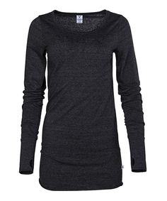 9686df67a9 Take a look at this Venley Black Tri-Blend Thumbhole Top today!