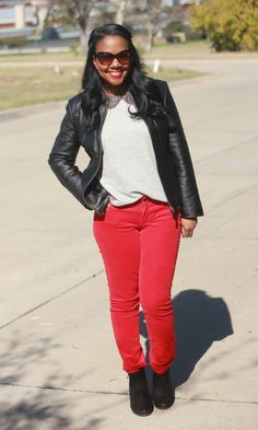 leather+gray+bright cherry red cords.