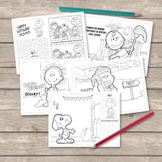 Charlie Brown Coloring Pages Peanuts Party Favor Snoopy Birthday Sheets 6 Printable Personalized