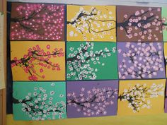 Cette année la jeune collègue PES qui complète mon temps partiel a travaillé sur les saisons. les enfants ont réalisé une peinture représent...