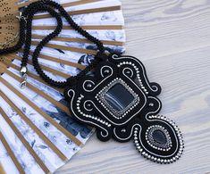 Black soutache necklace pendant statement handmade necklace
