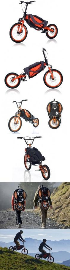"""Developed in Germany, one of the paradises of the mountain bike European downhill, the Der Bergmönch (""""mountain monk"""" in free translation) is a bike ready for high impact and that turns into a backpack in time to climb the mountain you want facing downhill.  Produced by Koga, the bike has been developed to minimize the impact of trails in the knees and ankles of cyclists.  The price is a bit steep 1250 euros, or just over US $ 3000.  by sharon.c.baldwin.7"""