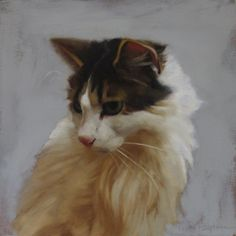 Florence a cat from the Cleveland Animal Protective League, painting by artist Diane Hoeptner