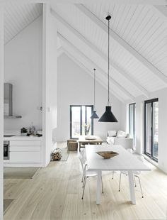 Pitched Roofing + Wooden Beams - The Design Chaser. home decor and interior decorating idea. Style At Home, Sweet Home, Deco Design, Home Fashion, White Walls, White Ceiling, White Beams, Raked Ceiling, Painted Wood Ceiling
