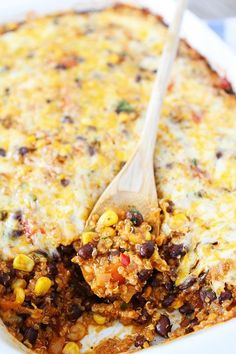 Black Bean and Quinoa Enchilada Bake Recipe on twopeasandtheirpod.com Love this healthy and comforting dish!
