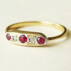 Antique Ruby and Diamond 18k Gold Engagement Ring by luxedeluxe