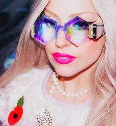 gaga. #LadyGaga #glasses #rainbow