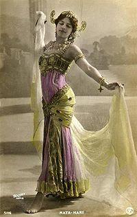 Mata Hari (stage name), a Dutch exotic dancer, courtesan, and accused spy who, although possibly innocent,was executed by firing squad in France for espionage in WWI.