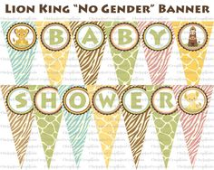 Lion King (Pink, Blue, or Green) Baby Shower Banner- Print At Home DIGITAL FILES. $10.00, via Etsy.