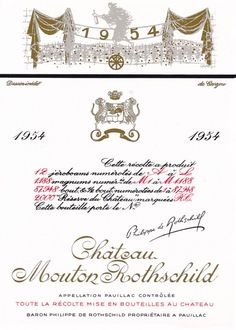 1954 Chateau Mouton-Rothschild label by Jean Carzou. #Wine / The allegory of the Wheel of Fortune which he chose for the label of 1954 reminds us that however generous, Nature, even at Mouton Rothschild, is never predictable.