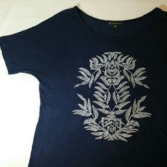 3/$24 Adrianna Papell Embroidered Tee Classic Beautiful white embroidery on a silky feeling navy blue tee Adrianna Papell Tops