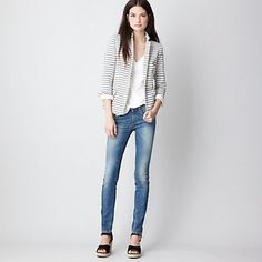 I have a black and white striped casual blazer similar to this -- nice simple spring styling option.