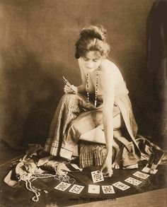 Topless Tarot Readings! It's a special tarot service. *Cackle*  vintage sepia tone. playing cards, tarot cards