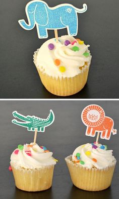 Quick and Easy Cupcake Toppers   DIY Baby Shower Ideas for Boys   Click for Tutorial   Baby Shower Ideas for Boys on a Budget