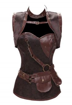Gothic Corset With Pouch Belt and Jacket Steampunk Clothing Burlesque Costume Brown Brocade Steel Boned Corsets and Bustiers Corset En Cuir, Leather Corset, Faux Leather Belts, Leather Pouch, Corset Steampunk, Steampunk Fashion, Steampunk Couture, Steampunk Goggles, Laura Lee