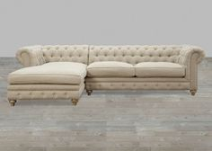 Beige Linen Sectional With Nailhead Trim with 8 Way Hand-Tied Spring #SilverCoastCompany