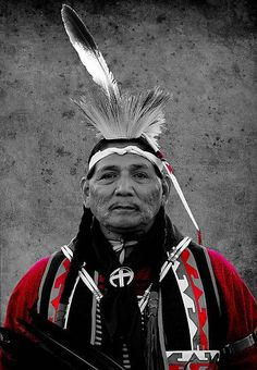 A beautiful picture of a Cherokee man. I love the color added in!