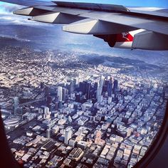 View of #DTLA from the window of a Qantas A380