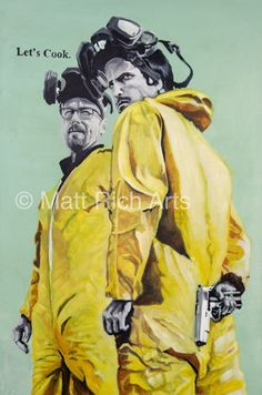 Breaking Bad's Walter White and Jesse Pinkman dressed in their Hazard Suit finest !  Each print is a part of limited edition run of 250, hand signed and numbered by yours truly. A3 prints on paper are £20 (Unframed)A2 prints on Canvas are £100 (Unframed)The Originals are individually priced. The original painting has been sold.