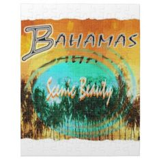 #beauty - #bahamas apparel palm trees golden sunset jigsaw puzzle
