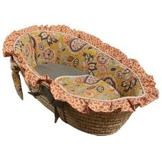 Hoohobbers Flirty Flowers Moses Basket Color: Flirty Flowers Yellow, Trim Style: Ruffled 316 -13-Ruffled,    #Hoohobbers_316 -13-Ruffled